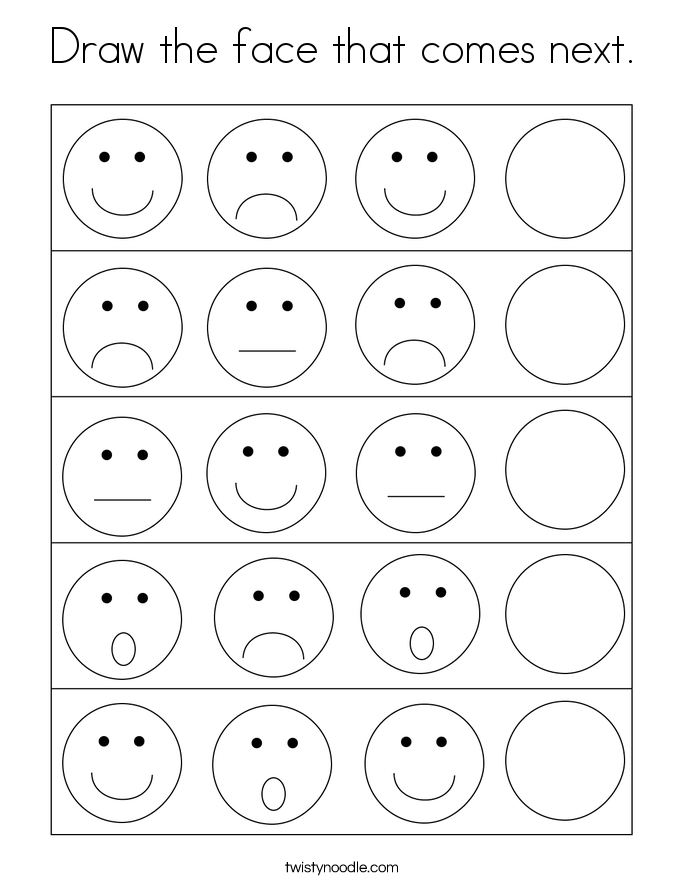 Draw the face that comes next. Coloring Page