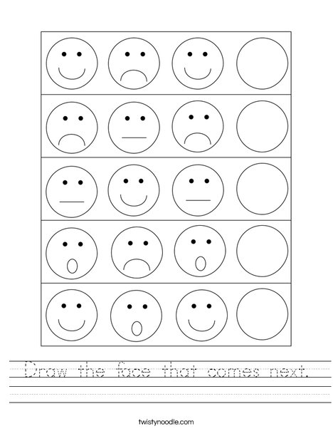 Draw the face that comes next. Worksheet
