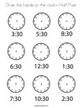 Draw the hands on the clock- Half Past. Coloring Page