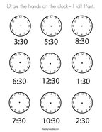 Draw the hands on the clock- Half Past Coloring Page