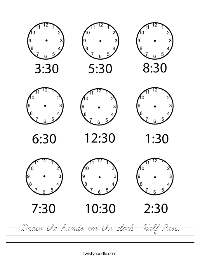 Draw the hands on the clock- Half Past. Worksheet