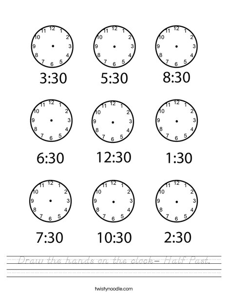 Draw the hands on the clock- Half Past Worksheet