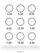Draw the hands on the clock- Half Past Handwriting Sheet