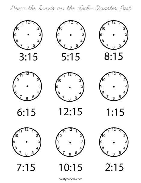Draw the hands on the clock- Quarter Past Coloring Page