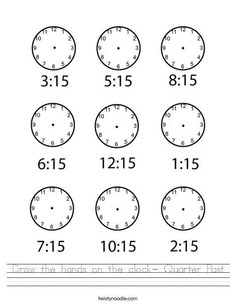 Draw the hands on the clock- Quarter Past Worksheet