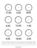 Draw the hands on the clock- Quarter Till Worksheet