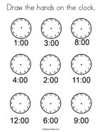 Draw the hands on the clock Coloring Page