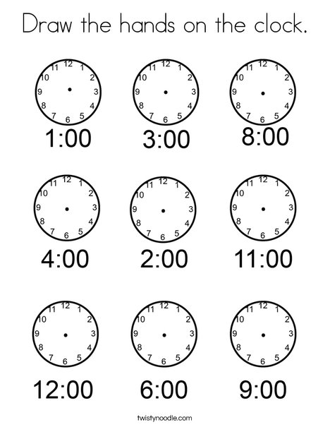 Draw the hands on the clock. Coloring Page