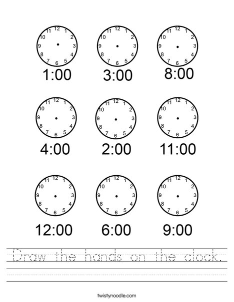 Draw the hands on the clock. Worksheet