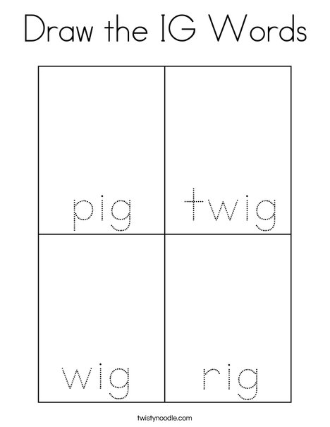 Draw the IG words. Coloring Page