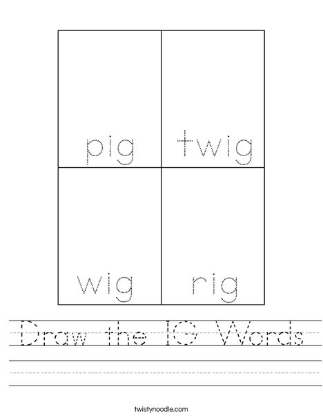 Draw the IG words. Worksheet
