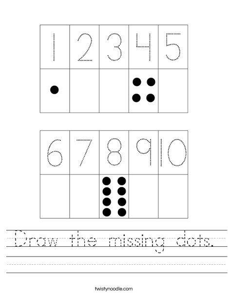 Draw the missing dots. Worksheet