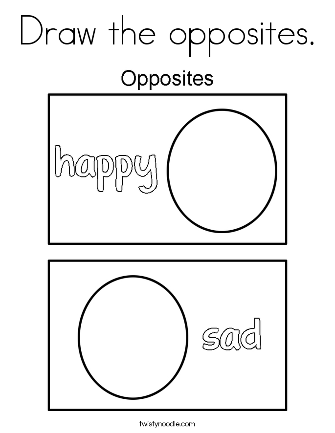Draw the opposites. Coloring Page