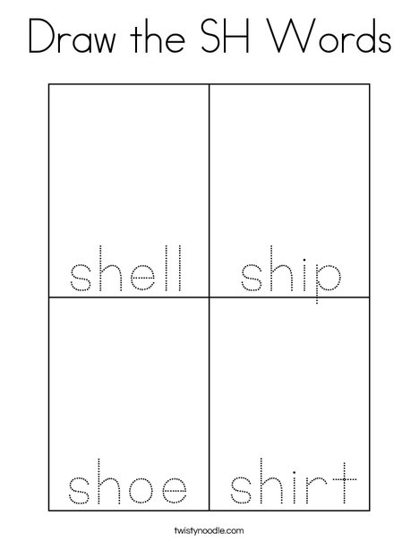 Draw the SH Words Coloring Page
