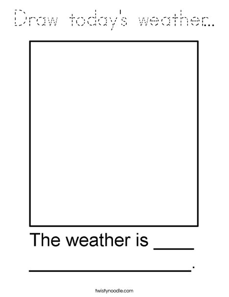 Draw the weather in the box. Coloring Page