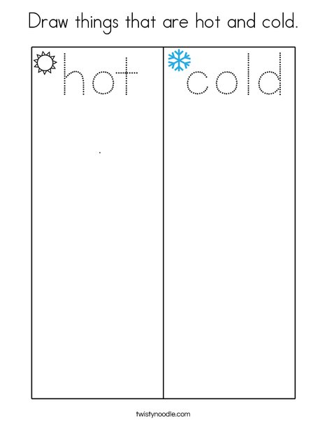 Draw things that are hot and cold. Coloring Page