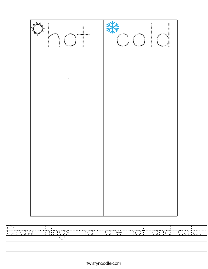 Draw things that are hot and cold. Worksheet