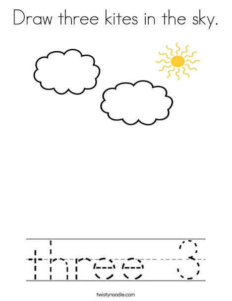 Draw three kites in the sky. Coloring Page