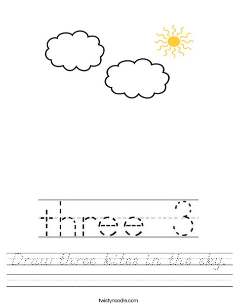 Draw three kites in the sky. Worksheet