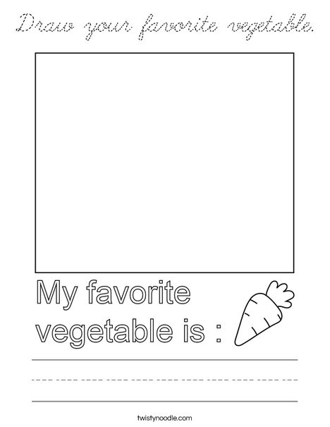 Draw your favorite vegetable. Coloring Page