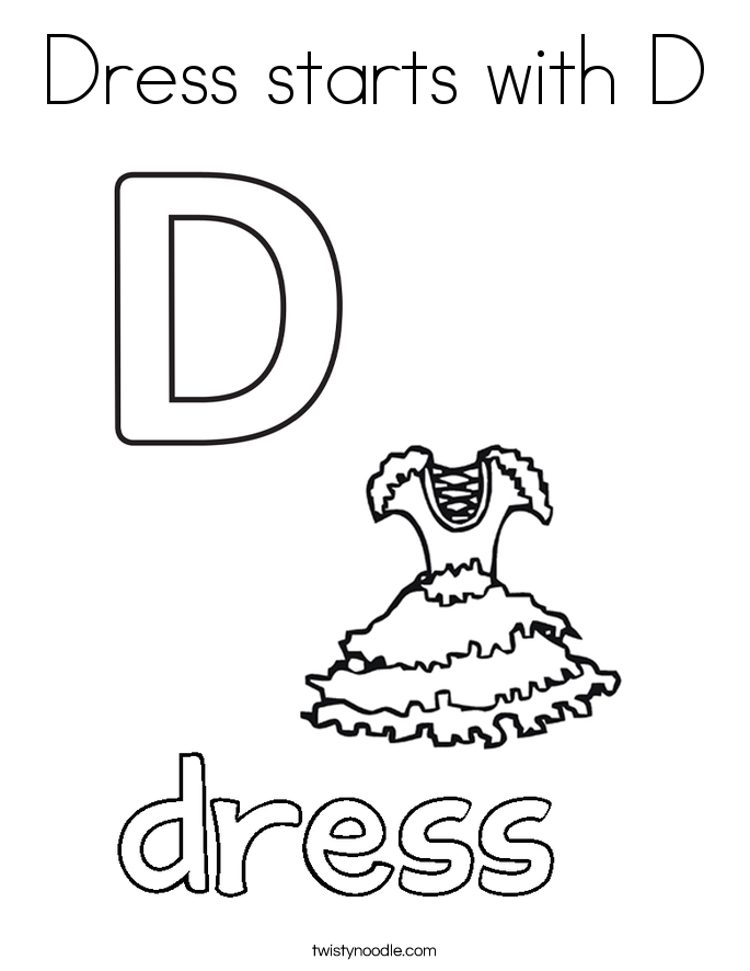 Dress starts with D Coloring Page Twisty Noodle