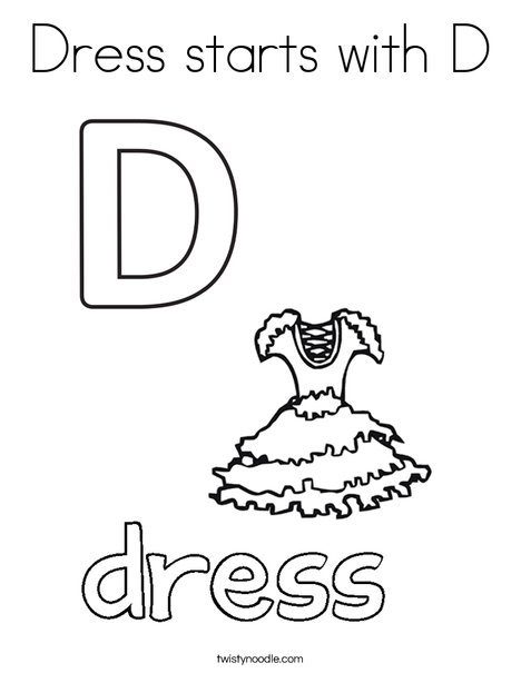 Dress starts with D. Coloring Page