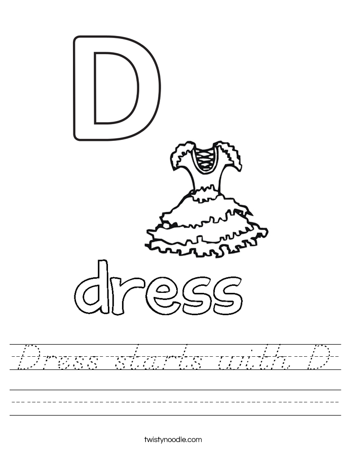 Dress starts with D Worksheet