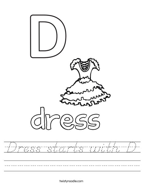 Dress starts with D. Worksheet