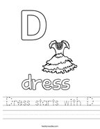 Dress starts with D Handwriting Sheet