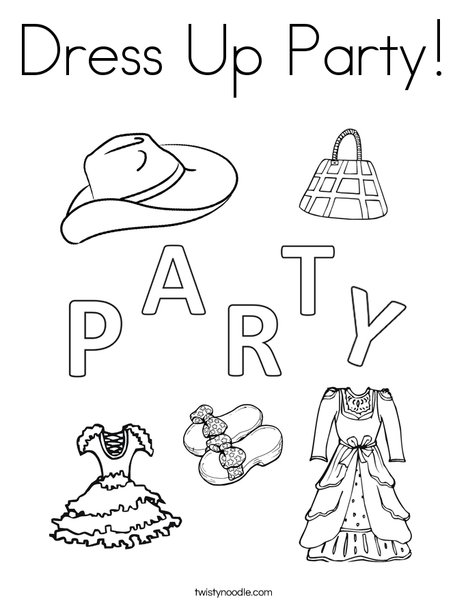 Dress Up Party Coloring Page - Twisty Noodle