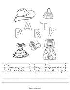 Dress Up Party Handwriting Sheet