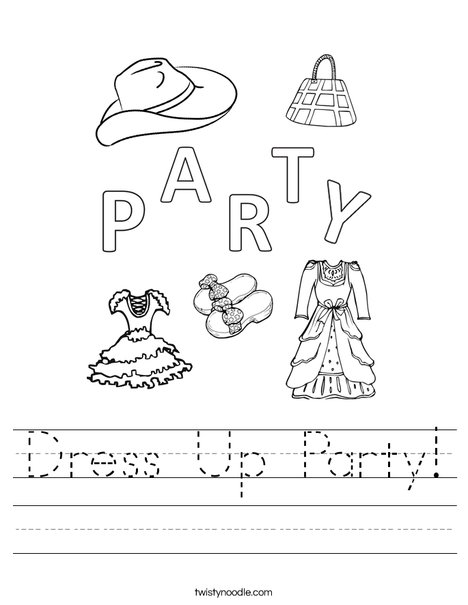 Dress Up Party Worksheet