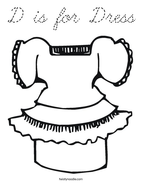 Pretty Dress Coloring Page