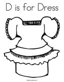 D is for Dress Coloring Page