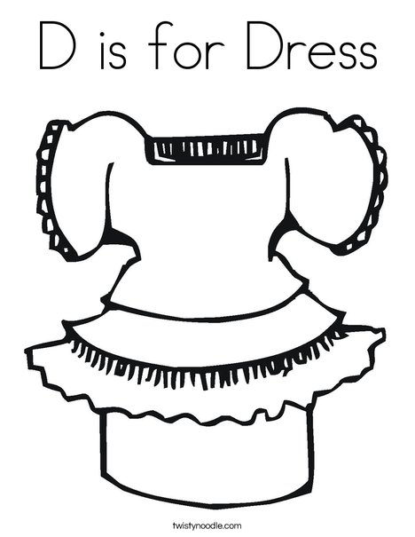 D Is For Dress Coloring Page Twisty Noodle