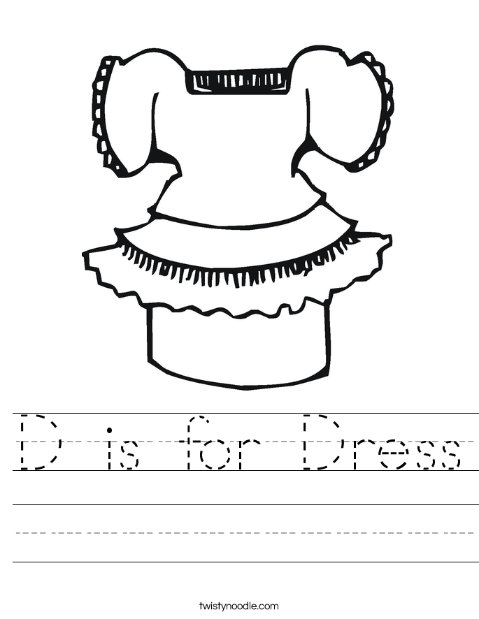 D is for Dress Worksheet