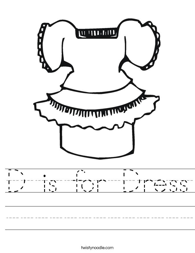 D is for Dress Worksheet