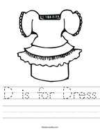 D is for Dress Handwriting Sheet