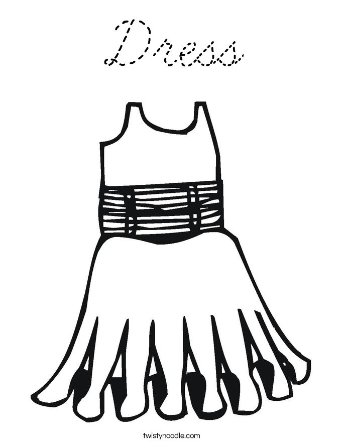 Dress Coloring Page Cursive