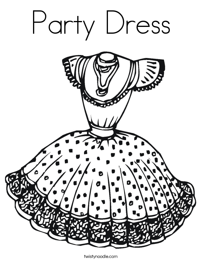 Party Dress Coloring Page Twisty Noodle