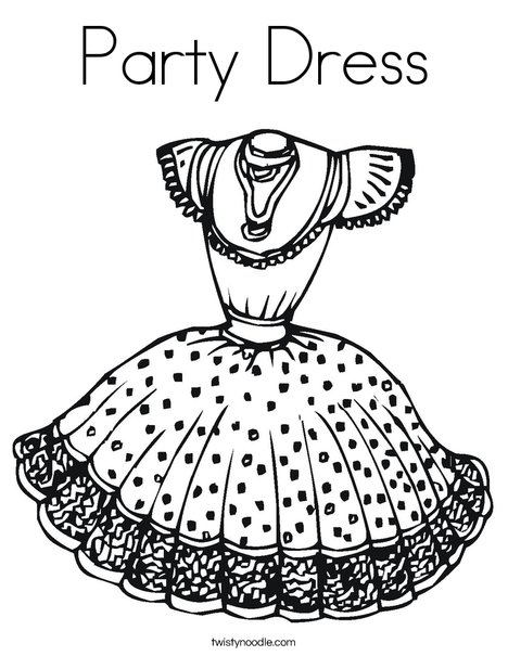 Party Dress Coloring Page - Twisty Noodle
