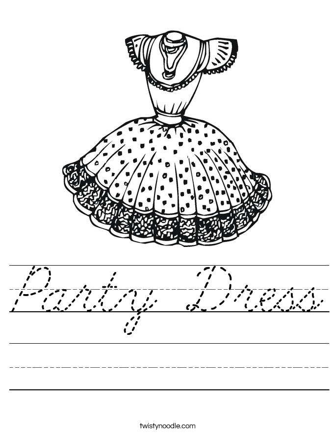 Party Dress Worksheet