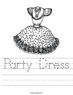 Party Dress Handwriting Sheet