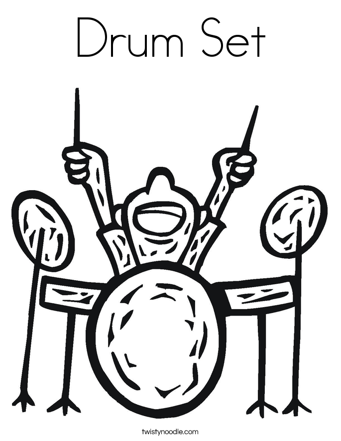 Drum Set Outline Drum Set Coloring Page