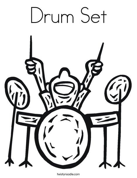 Drum Set Coloring Page - Twisty Noodle
