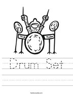 Drum Set Handwriting Sheet