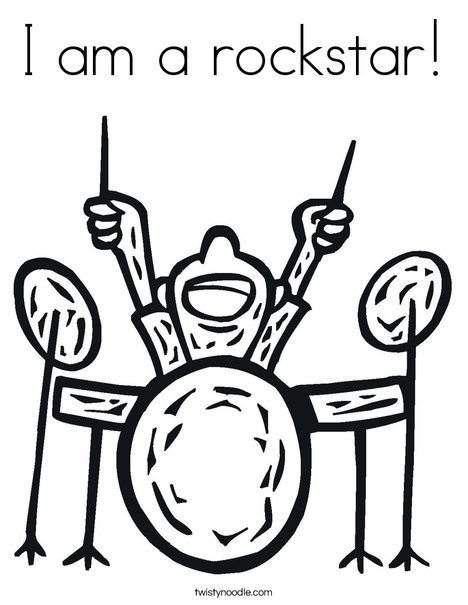 rock star coloring pages I am a rockstar Coloring Page   Twisty Noodle rock star coloring pages