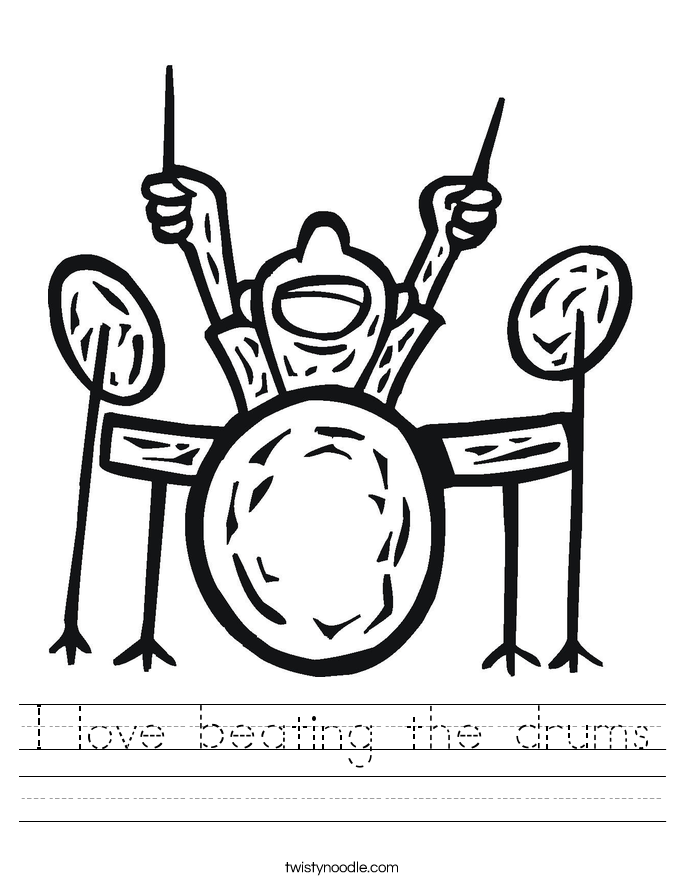 I love beating the drums Worksheet