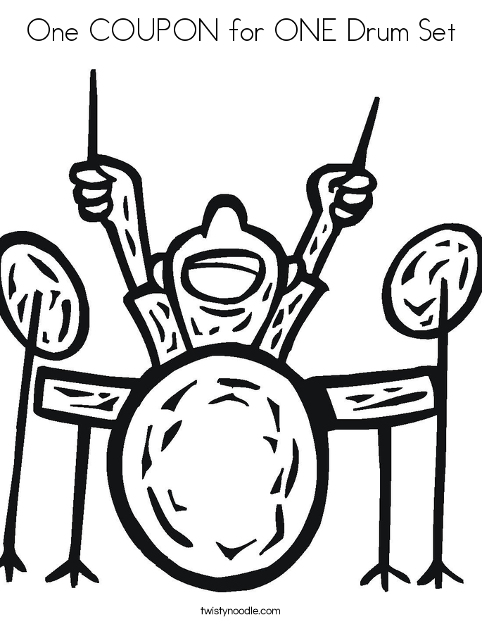 One COUPON for ONE Drum Set Coloring Page