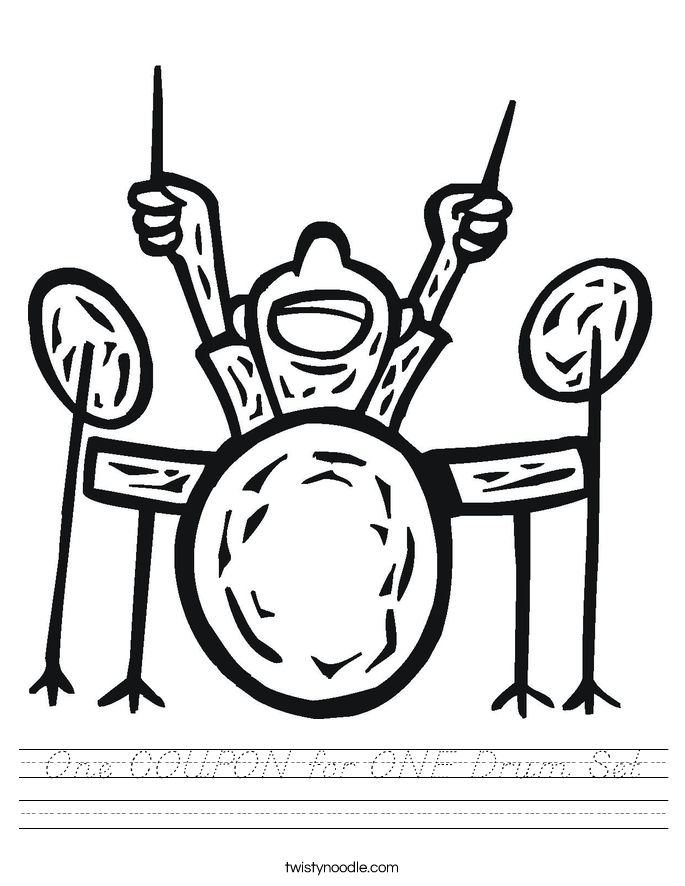 One COUPON for ONE Drum Set Worksheet